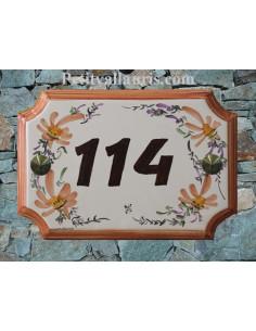 Plaque de Maison rectangle de style décor Fleuri beige et marron