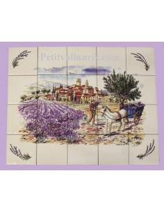 Fresque céramique rectangulaire décor récolte des olives