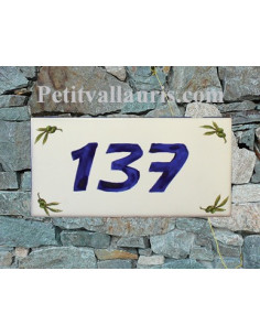 Plaque chiffre de maison faience émaillée brins d'olives