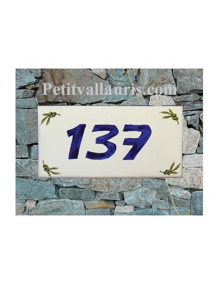 Plaque chiffre de maison faience émaillée motif brins d'olives + inscription personnalisée