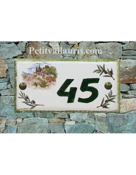 Plaque de maison faience émaillée décor maison provençale et brins d'oliviers inscription personnalisée verte