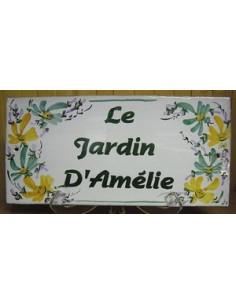 Plaque de Maison rectangle décor fleurs vertes et orangées aux angles inscription personnalisée et bord vert