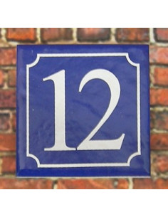 Numéro de rue fond bleu chiffre blanc n° 1