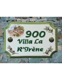 Plaque de Maison rectangle décor cabanon et brins d'olivier inscription personnalisée et bord vert