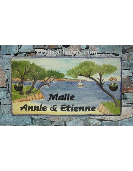 Plaque de Maison en céramique émaillée décor artisanal ilots les 2 frères-cap sicié-le mai + personnalisation