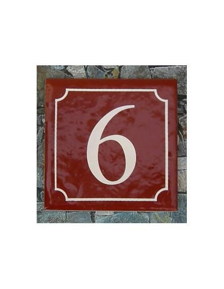 Numéro de rue fond pourpre liseré blanc n° 6