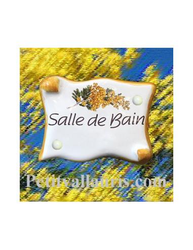 Plaque de porte parchemin salle de bain d cor mimosas le for Plaque salle de bain
