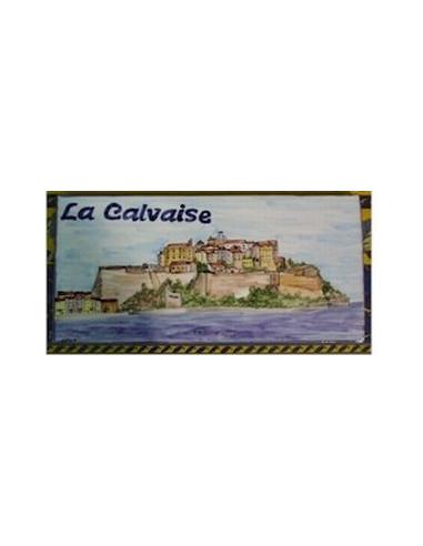 Plaque de Maison rectangle décor personnalisé citadelle calvi inscription bleue