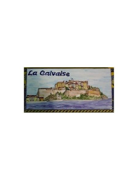 Plaque de Maison en céramique émaillée décor artisanal citadelle calvi + inscription personnalisée