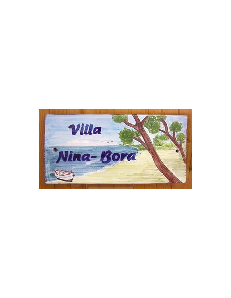 Plaque de Maison en céramique émaillée décor artisanal plage corse avec canot pointu + inscription personnalisée