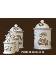 Pot de cheminée rond décor Tradition Vieux Moustiers polychrome taille 3