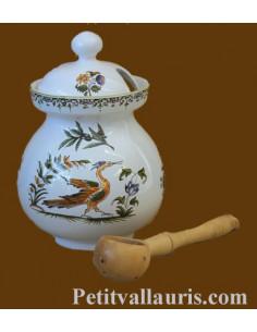 Pot à olives décor Tradition Vieux Moustiers polychrome avec louche