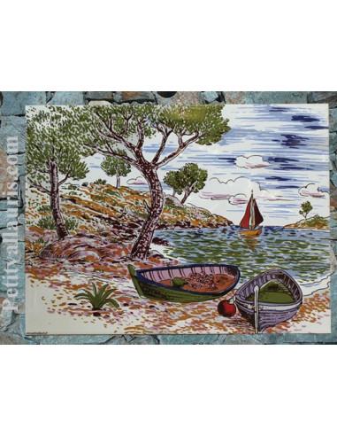 Fresque murale d corative en faience motif calanque et for Fresque murale en carrelage