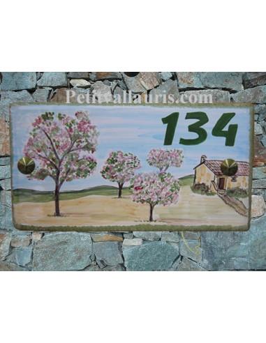 Plaque de Maison rectangle décor personnalisé les cerisiers inscription verte