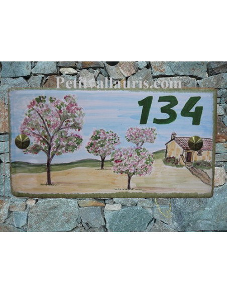 Plaque de Maison en céramique émaillée décor artisanal les cerisiers + inscription personnalisée