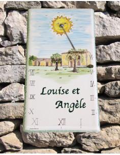 Cadran solaire en faïence sur grande plaque décor Auberge