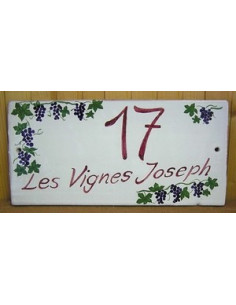 Plaque de Maison rectangle décor personnalisé treille de raisin inscription prune