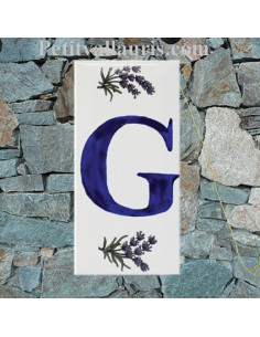 Plaque chiffre de maison faience décor Pomme de pin texte bleu