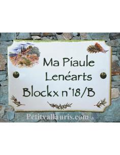 Plaque pour maison en céramique décor Champs de lavande texte bleu