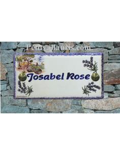 Plaque de maison faience émaillée décor paysage calanque provence inscription personnalisée bleue