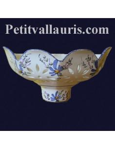 Applique ajourée facette décor Fleurs bleues