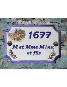 Plaque de Maison rectangle décor cabanon et olivier inscription personnalisée bleue et bord bleue