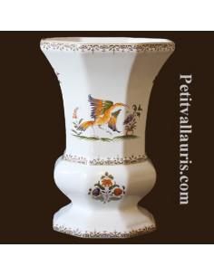 Vase Medicis Taille 3 en faïence décor Tradition Vieux Moustiers polychrome
