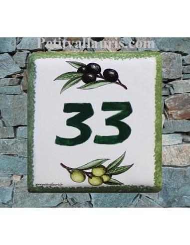 Numéro de maison décor brins d'olives vertes et noires pose horizontale