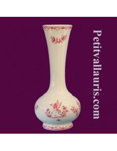 Soliflore boule en faïence décor Tradition Vieux Moustiers rose