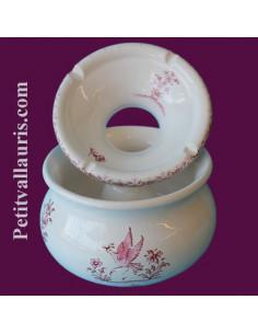 Cendrier anti-fumée grand modèle décor Tradition Vieux Moustiers rose