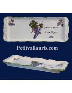 Plat à cake en faïence décor grappes de raisin