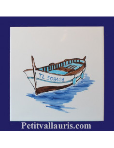 "Carrelage décor Barque ""Pointu 1"" 20 x 20 cm"
