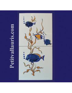 Carreaux décor Poissons Exotiques 20 x 40 cm