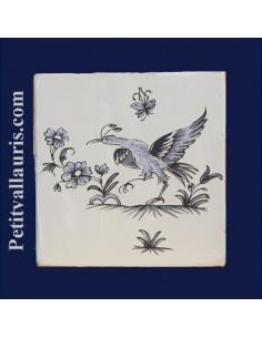 Carreau décor oiseau Tradition Vieux Moustiers bleu ref 5201