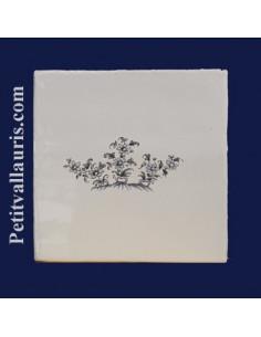 Carreau décor petit bouquet de 3 branches décor Tradition Vieux Moustiers bleu