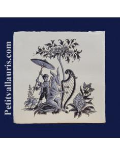 Carreau décor grotesque Tradition Vieux Moustiers bleu ref 5205
