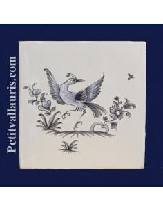Carreau décor oiseau Tradition Vieux Moustiers bleu ref 5197