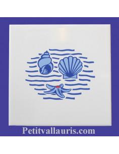 Carrelage décor Coquillage marine 15 x 15 cm