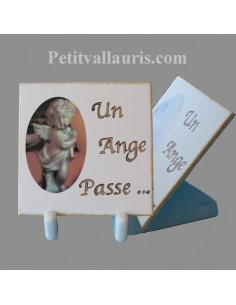 Plaque funéraire à poser avec décor petit ange
