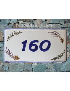 Plaque de Maison rectangle décor brins de lavandes et olives aux angles inscription personnalisée et bord bleu
