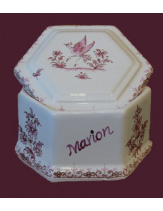 Boîte à bijoux hexagonale décor Tradition Vieux Moustiers rose