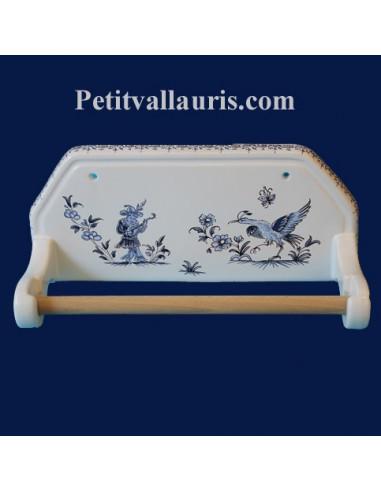 D rouleur de papier essuie tout mural d cor tradition vieux moustiers bleu le petit vallauris - Derouleur essuie tout mural ...