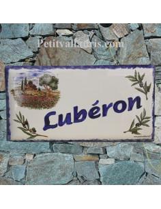 Plaque de maison faience émaillée décor cabanon provençale et oliviers inscription personnalisée bleu