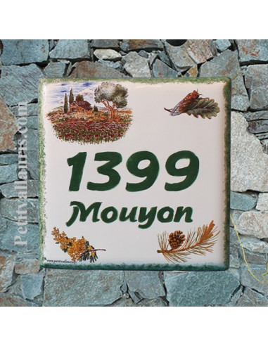Numéro de Maison pose horizontale décor cabanon et olivier texte vert