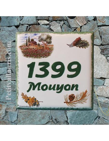 Plaque numéro de maison en faience émaillée motif cabanon et olivier + chiffre personnalisé vert