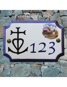 Plaque de Maison rectangle décor et texte personnalisés croix camarguaise inscription et bord bleus