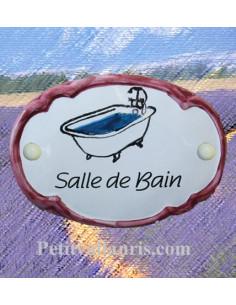 Plaque de porte décor Chambre baignoire bord rose
