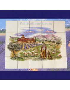 Fresque faïence Provençale décor Berger champs de lavande