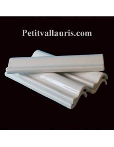 Listel ou corniche émaillée couleur unie blanc