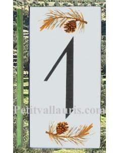 Numero de rue chiffre 1 décor branche et pigne de pin